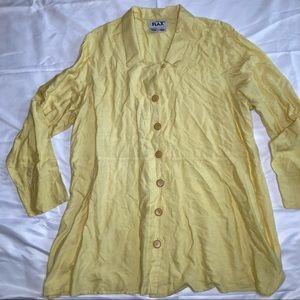 Flax Silk Cotton Button Down Dress Size Large